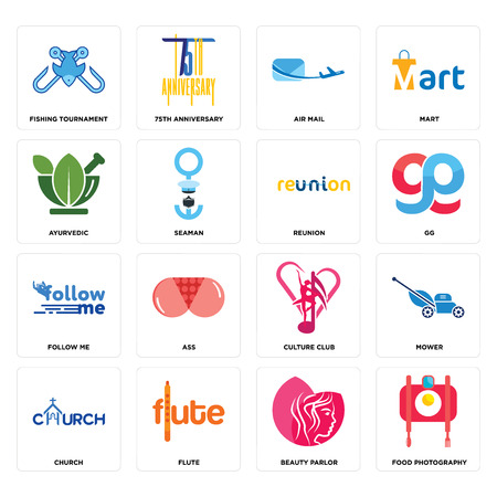 Set Of 16 simple editable icons such as food photography, beauty parlor, flute, church, mower, fishing tournament, ayurvedic, follow me, reunion can be used for mobile, web UI