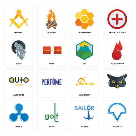 Set Of 16 simple editable icons such as v circle, sailor, golf, ripple, , masonic, wolf, auto shop, pic can be used for mobile, web UI Illusztráció