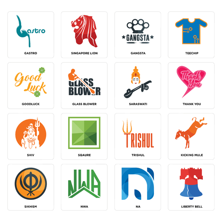 Set Of 16 simple editable icons such as liberty bell, na, nwa, sikhism, kicking mule, gastro, goodluck, shiv, saraswati can be used for mobile, web UI Illustration
