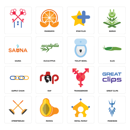 Set Of 16 simple editable icons such as poseidon, royal family, papaya, streetbrush, great clips, , sauna, supply chain, toilet bowl can be used for mobile, web UI Illustration