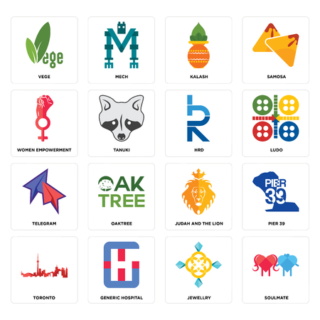 Set Of 16 simple editable icons such as soulmate, jewellry, generic hospital, toronto, pier 39, vege, women empowerment, telegram, hrd can be used for mobile, web UI