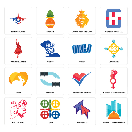 Set Of 16 simple editable icons such as general contractor, telegram, ludo, me and mom, women empowerment, honor flight, polish dancer, rabit, tiket can be used for mobile, web UI