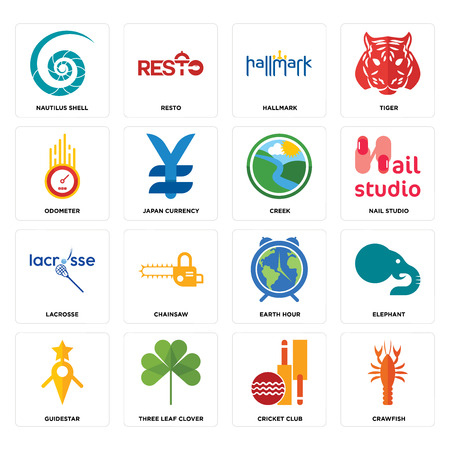 Set Of 16 simple editable icons such as crawfish, cricket club, three leaf clover, guidestar, elephant, nautilus shell, odometer, lacrosse, creek can be used for mobile, web UI Illustration