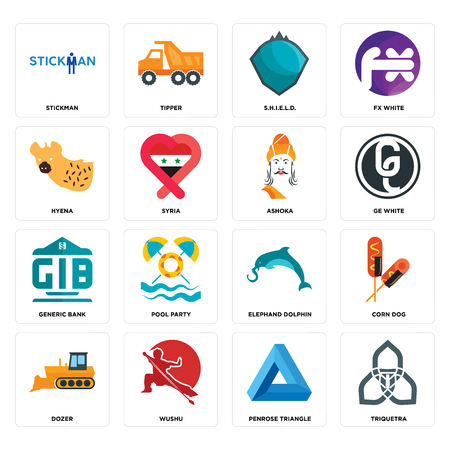 Set Of 16 simple editable icons such as triquetra, penrose triangle, wushu, dozer, corn dog, stickman, hyena, generic bank, ashoka can be used for mobile, web UI