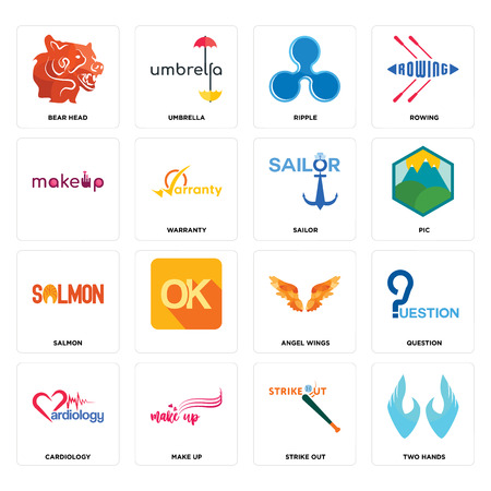Set Of 16 simple editable icons such as two hands, strike out, make up, cardiology, question, bear head, , salmon, sailor can be used for mobile, web UI