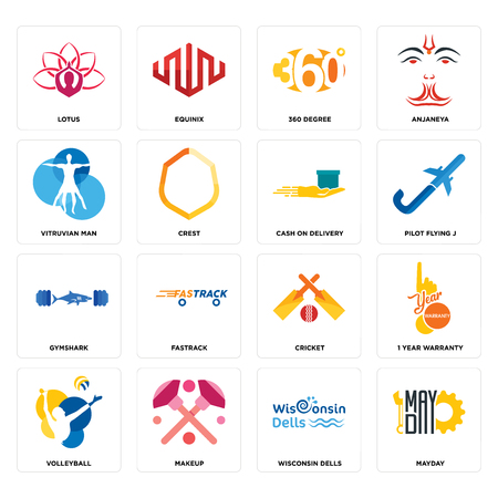 Set Of 16 simple editable icons such as mayday, wisconsin dells, makeup, volleyball, 1 year warranty, lotus, vitruvian man, gymshark, cash on delivery can be used for mobile, web UI Illustration