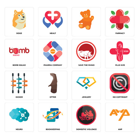 Set Of 16 simple editable icons such as ahp, domestic violence, bookkeeping, neuro, no copyright, doge, bomb squad, kicker, save the rhino can be used for mobile, web UI