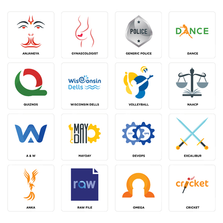 Set Of 16 simple editable icons such as cricket, omega, raw file, anka, excalibur, anjaneya, quiznos, a & w, volleyball can be used for mobile, web UI
