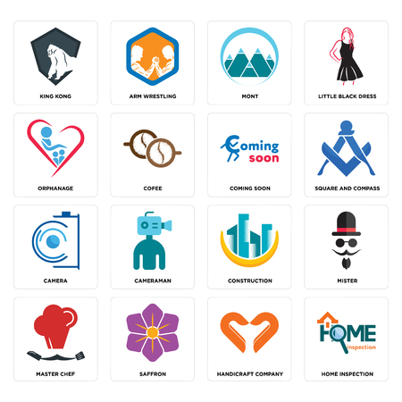 Set Of 16 simple editable icons such as home inspection, handicraft company, saffron, master chef, mister, king kong, orphanage, camera, coming soon can be used for mobile, web UI Illustration