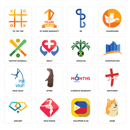 Set Of 16 simple editable icons such as doge, philippine flag, pole dance, jewlery, antichrist, tic tac toe, fantasy baseball, vault, jamaican can be used for mobile, web UI Ilustração