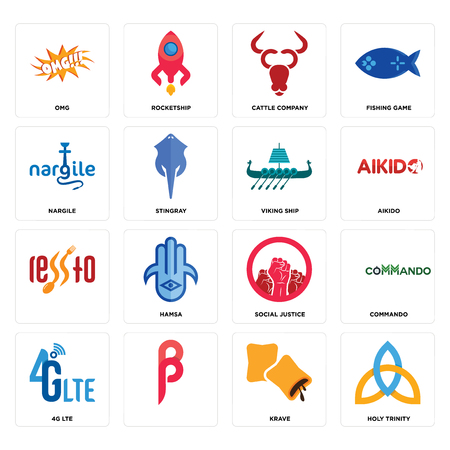 Set Of 16 simple editable icons such as holy trinity, krave, , 4g lte, commando, omg, nargile, viking ship can be used for mobile, web UI