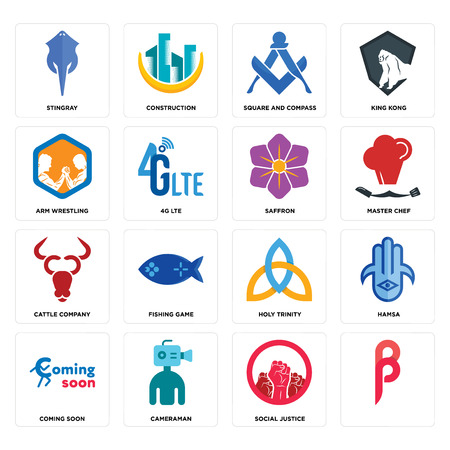 Set Of 16 simple editable icons such as, social justice, cameraman, coming soon, hamsa, stingray, arm wrestling, cattle company, saffron can be used for mobile, web UI Foto de archivo - 102627673