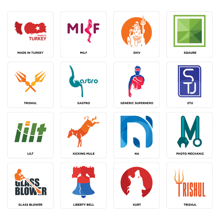 Set Of 16 simple editable icons such as trishul, kurt, liberty bell, glass blower, photo mechanic, made in turkey, lilt, generic superhero can be used for mobile, web UI Çizim