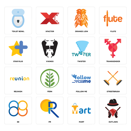 Set Of 16 simple editable icons such as outlaws, mart, pr, 88, streetbrush, toilet bowl, star plus, reunion, twister can be used for mobile, web UI