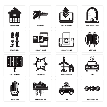 Set Of 16 simple editable icons such as Hoverboard, Car, Flying shoes, Wi gloves, Eco house, Prosthesis, Solar panel, Smartphone can be used for mobile, web UI