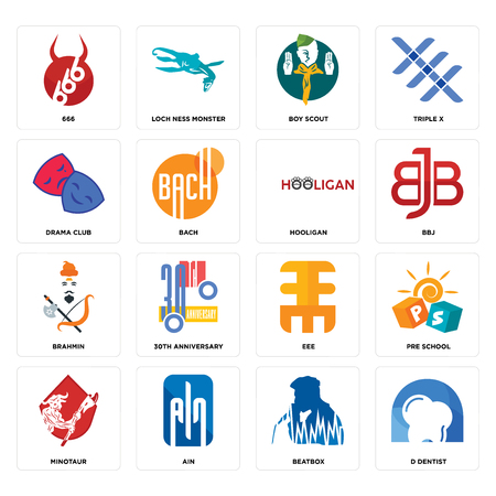 Set Of 16 simple editable icons such as d dentist, beatbox, ain, minotaur, pre school, 666, drama club, brahmin, hooligan can be used for mobile, web UI