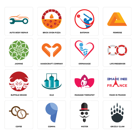 Set Of 16 simple editable icons such as grizzly claw, mister, comma, cofee, made in france, auto body repair, jasmine, buffalo brand, orphanage can be used for mobile, web UI