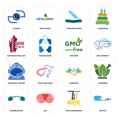 Set Of 16 simple editable icons such as air mail, 75th anniversary, ass, powerlifting, ayurvedic, camera, qatar national day, astronaut helmet, gmo free can be used for mobile, web UI