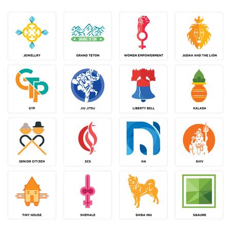 Conjunto de 16 iconos editables sencillos como sqaure, shiba inu, shemale, tiny house, shiv, jewellry, gtp, senior citizen, liberty bell puede utilizarse para móviles, la interfaz de usuario web Ilustración de vector