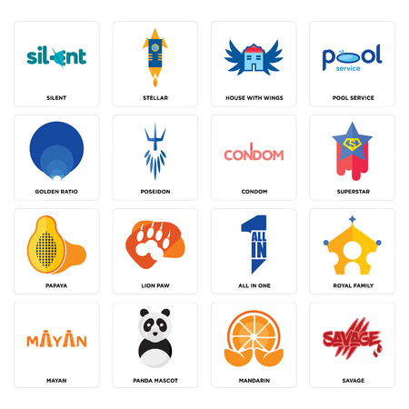 Set Of 16 simple editable icons such as savage, mandarin, panda mascot, mayan, royal family, silent, golden ratio, papaya, condom can be used for mobile, web UI