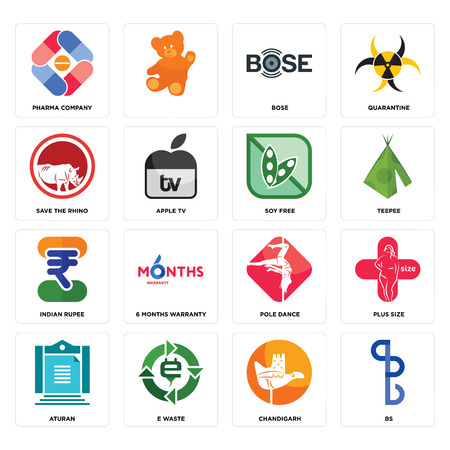 Set Of 16 simple editable icons such as bs, chandigarh, e waste, aturan, plus size, pharma company, save the rhino, indian rupee, soy free can be used for mobile, web UI