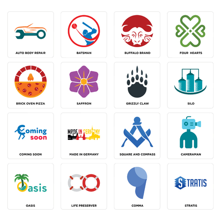 Set Of 16 simple editable icons such as stratis, comma, life preserver, oasis, cameraman, auto body repair, brick oven pizza, coming soon, grizzly claw can be used for mobile, web UI