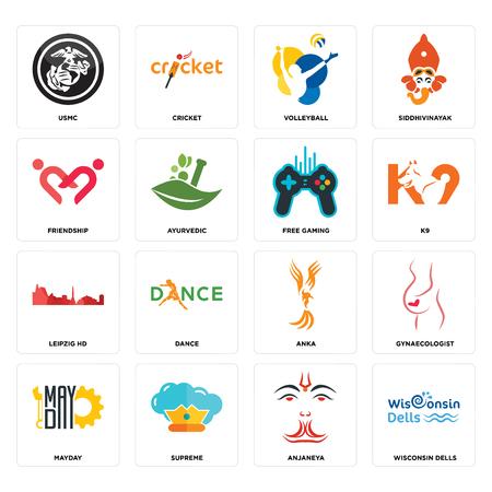 Set van 16 eenvoudige bewerkbare pictogrammen zoals Wisconsin dells, anjaneya, supreme, mayday, gynaecologist, usmc, vriendschap, leipzig hd, gratis gaming kan worden gebruikt voor mobiel, web UI