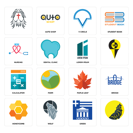 Set Of 16 simple editable icons such as, greek, wolf, honeycomb, bridge, nursing, calculator, lorem ipsum can be used for mobile, web UI