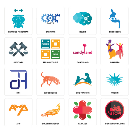 Set Of 16 simple editable icons such as domestic violence, farmacy, golden peacock, ahp, urchin, bearded fisherman, judiciary, dth, candyland can be used for mobile, web UI