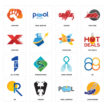 Set Of 16 simple editable icons such as lawn mower, pool company, vikings, pr, 88, lion paw, xfactor, all in one, childcare can be used for mobile, web UI Ilustração