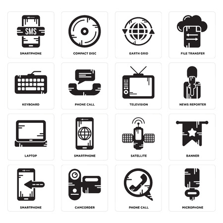 Set Of 16 simple editable icons such as Microphone, Phone call, Camcorder, Smartphone, Banner, Keyboard, Laptop, Television can be used for mobile, web UI