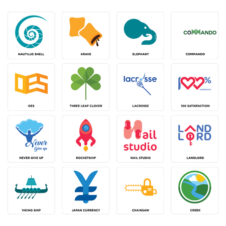 Set Of 16 simple editable icons such as creek, chainsaw, japan currency, viking ship, landlord, nautilus shell, oes, never give up, lacrosse can be used for mobile, web UI Banque d'images - 102634479