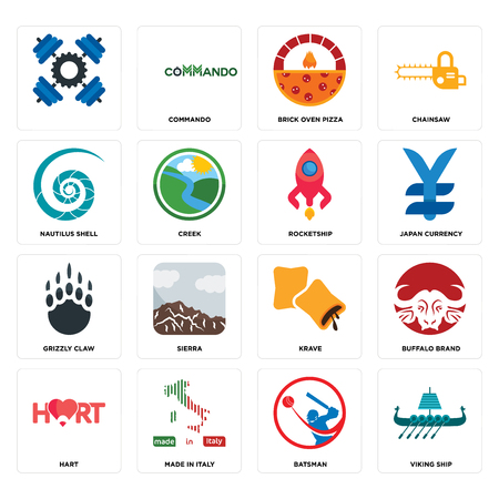 Set Of 16 simple editable icons such as viking ship, batsman, made in italy, hart, buffalo brand, , nautilus shell, grizzly claw, rocketship can be used for mobile, web UI