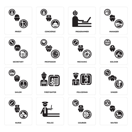 Set Of 16 simple editable icons such as Waiter, Courier, Police, Nurse, Singer, Priest, Secretary, Sailor, Mechanic can be used for mobile, web UI