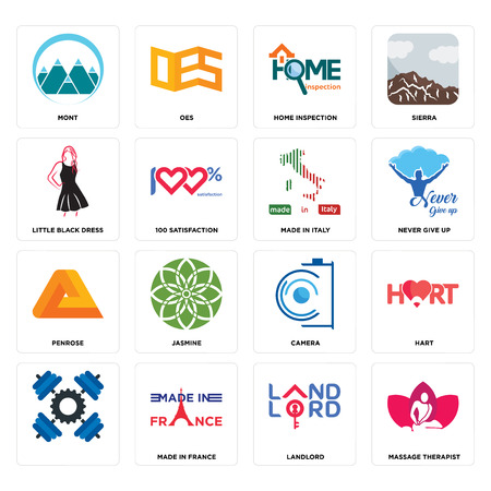 Set Of 16 simple editable icons such as massage therapist, landlord, made in france, , hart, mont, little black dress, penrose, italy can be used for mobile, web UI