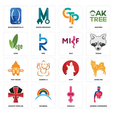 Set Of 16 simple editable icons such as generic superhero, shemale, rainbow, knights templar, shiba inu, quintessentially, vege, tiny house, milf can be used for mobile, web UI