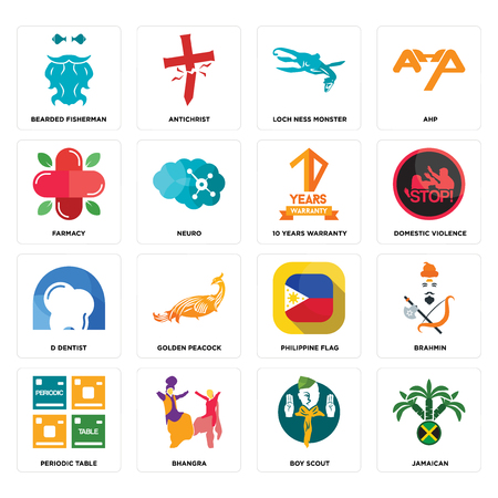 Set Of 16 simple editable icons such as jamaican, boy scout, bhangra, periodic table, brahmin, bearded fisherman, farmacy, d dentist, 10 years warranty can be used for mobile, web UI