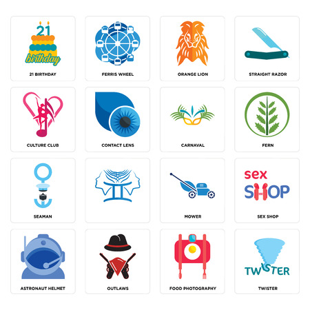 Set Of 16 simple editable icons such as twister, food photography, outlaws, astronaut helmet, sex shop, 21 birthday, culture club, seaman, carnaval can be used for mobile, web UI Illustration