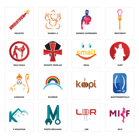 Set Of 16 simple editable icons such as milf, ldr, photo mechanic, k mountain, quintessentially, molotov, krav maga, hanuman, smail can be used for mobile, web UI
