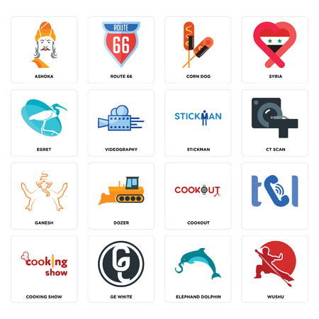 Set Of 16 simple editable icons such as wushu, elephand dolphin, ge white, cooking show, , ashoka, egret, ganesh, stickman can be used for mobile, web UI