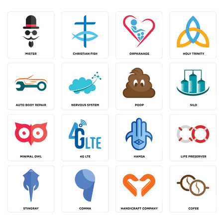 Set Of 16 simple editable icons such as cofee, handicraft company, comma, stingray, life preserver, mister, auto body repair, minimal owl, poop can be used for mobile, web UI Illustration