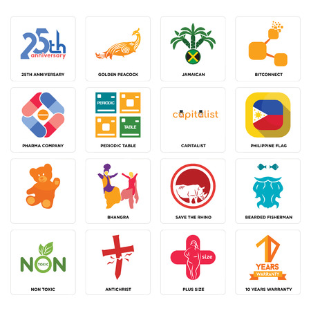 Set Of 16 simple editable icons such as 10 years warranty, plus size, antichrist, non toxic, bearded fisherman, 25th anniversary, pharma company, , capitalist can be used for mobile, web UI Illustration