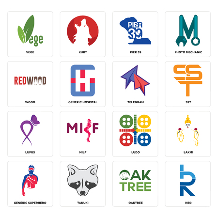 Set Of 16 simple editable icons such as hrd, oaktree, tanuki, generic superhero, laxmi, vege, wood, lupus, telegram can be used for mobile, web UI