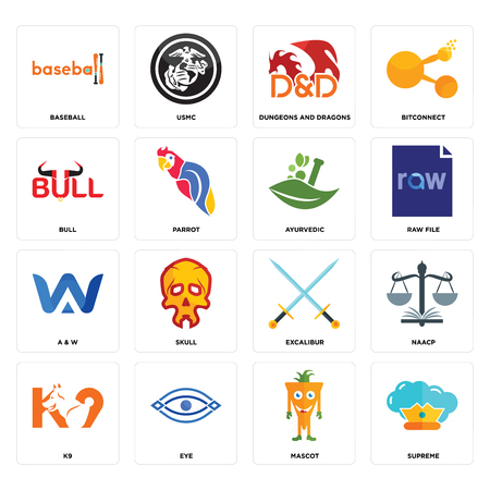 Set Of 16 simple editable icons such as supreme, mascot, eye, k9, naacp, baseball, bull, a & w, ayurvedic can be used for mobile, web UI
