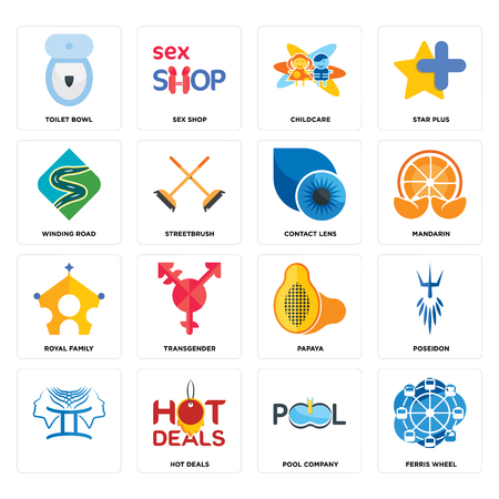 Set Of 16 simple editable icons such as ferris wheel, pool company, hot deals, , poseidon, toilet bowl, winding road, royal family, contact lens can be used for mobile, web UI