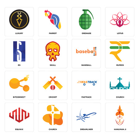 Set Of 16 simple editable icons such as hanuman ji, dreamliner, church, equinix, luxury, rs, bitconnect, baseball can be used for mobile, web UI Vettoriali