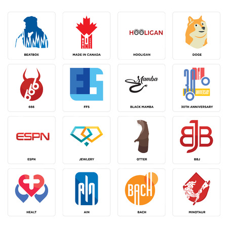 Set Of 16 simple editable icons such as minotaur, bach, ain, healt, bbj, beatbox, 666, espn, black mamba can be used for mobile, web UI