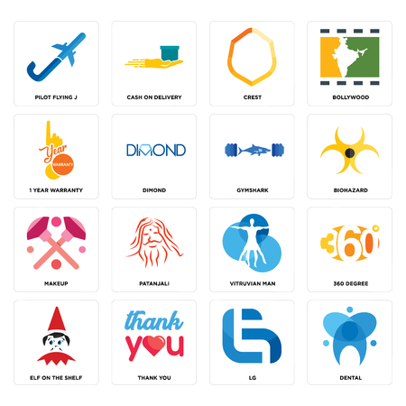 Set Of 16 Simple Editable Icons Such As Dental Lg Thank You