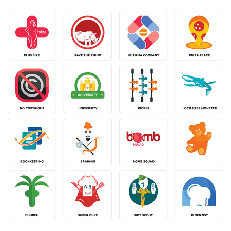 Set Of 16 simple editable icons such as d dentist, boy scout, super chef, church, , plus size, no copyright, bookkeeping, kicker can be used for mobile, web UI Illustration