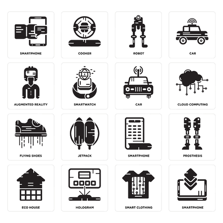 Set Of 16 simple editable icons such as Smartphone, Smart clothing, Hologram, Eco house, Prosthesis, Augmented reality, Flying shoes, Car can be used for mobile, web UI